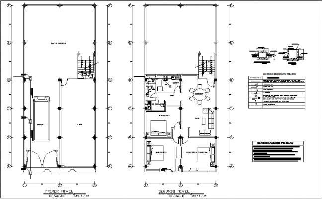 Drain water line view with sanitary view with house dwg file