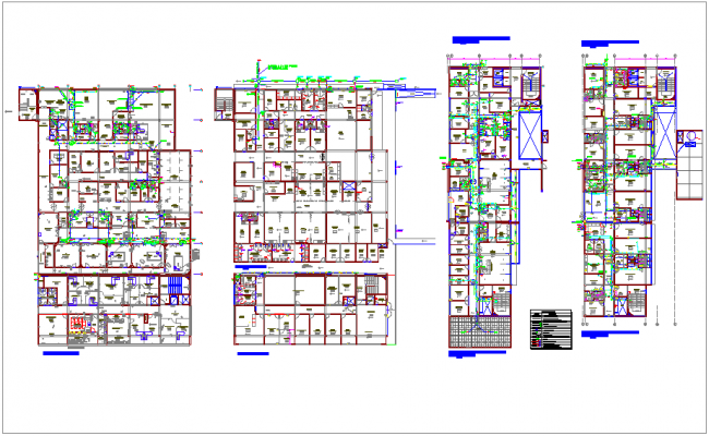 Drain water pipe line view of office with floor plan dwg file