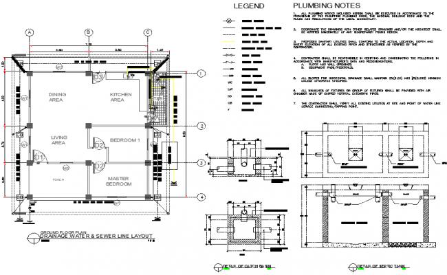 Drainage, water & sewer line layout file