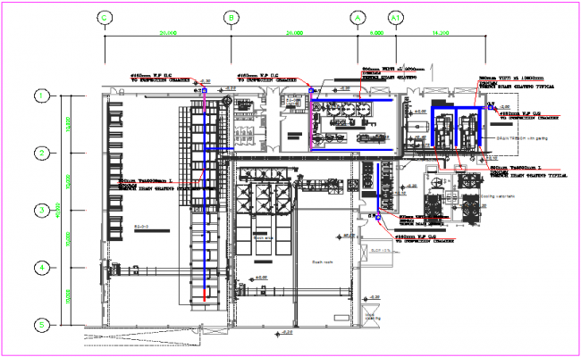 Drainage detail view of plumbing design dwg file