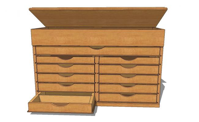 Drawer tool chest with hinged top 3d drawing details skp file