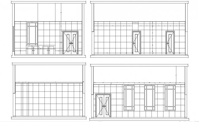 Drawing Of Room Wall Tiles Design With Four Side Elevation CAD File Free