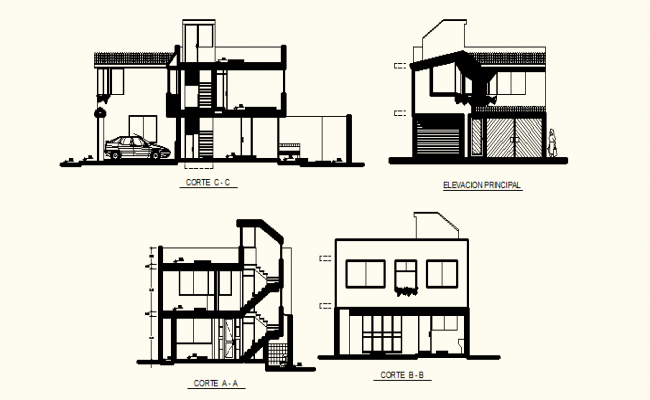 Drawing Of 2 Storey House With Different Section And Elevation In