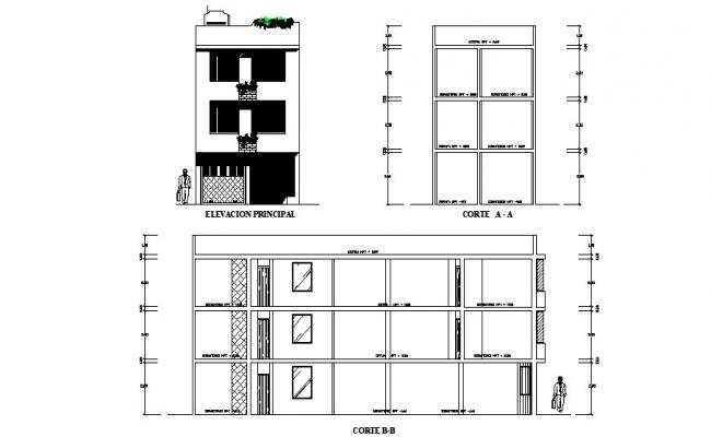 3 Storey Building Elevation CAD Drawings