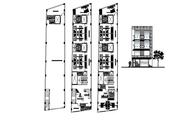 Download Free 3 Story Building Design In DWG File