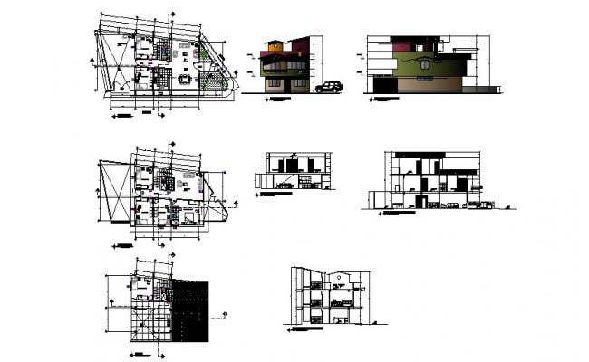 Drawing of 3 storey house with section and elevation in dwg file