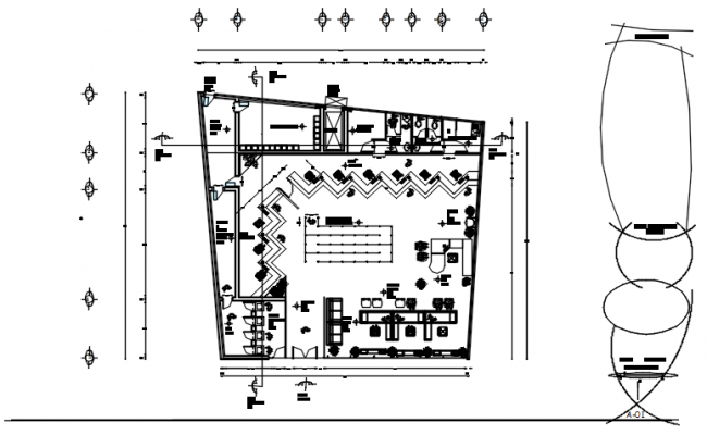 Drawing of Bank plan 18.75mtr x 18.32mtr with detail dimension in AutoCAD