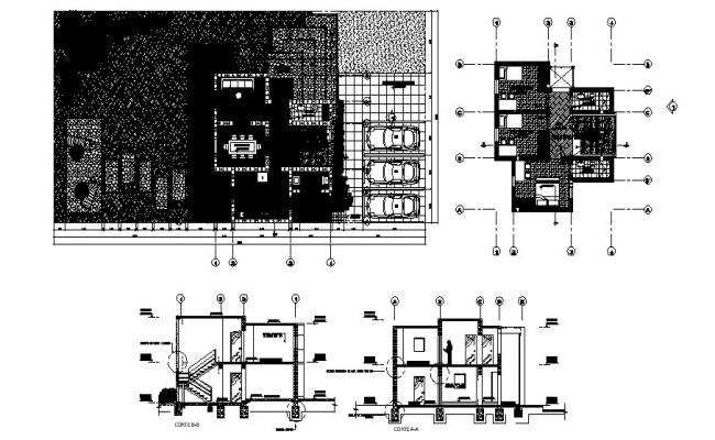 Drawing of Bungalow 15.00mtr x 30.00mtr with section and elevation in AutoCAD
