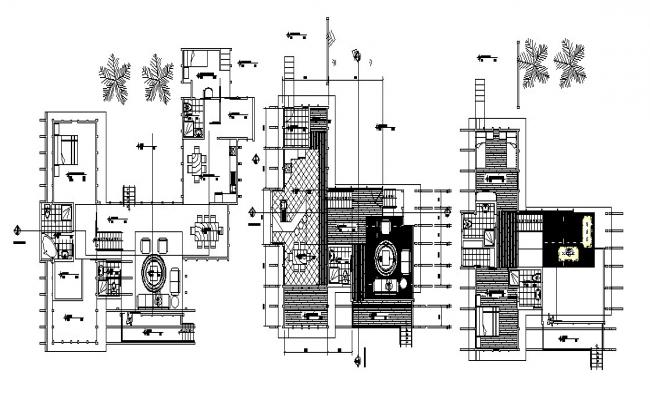 Drawing of Bungalow plan with detail dimension in dwg file