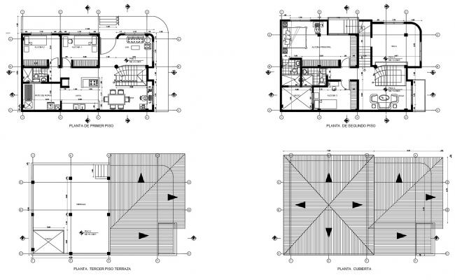 Drawing of Bungalow plan with furniture details in dwg file