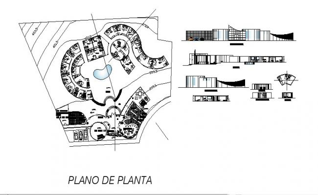 Drawing of Hotel with elevation and section in dwg file
