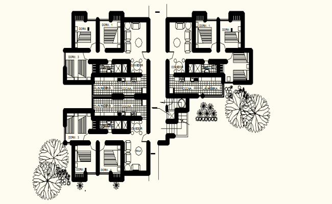 Drawing of Housing unit with full detail of furniture in dwg file