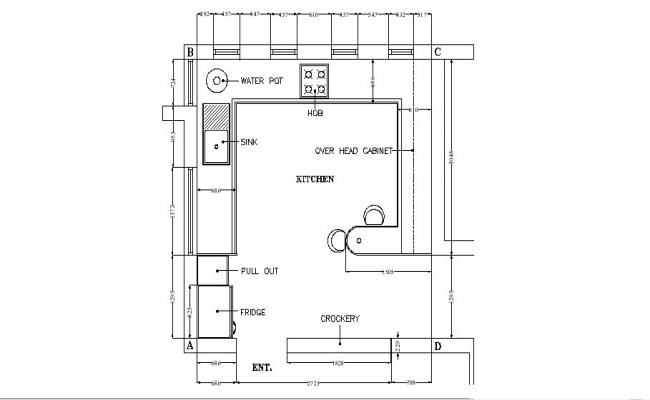 Drawing of Kitchen with detail dimension in dwg file