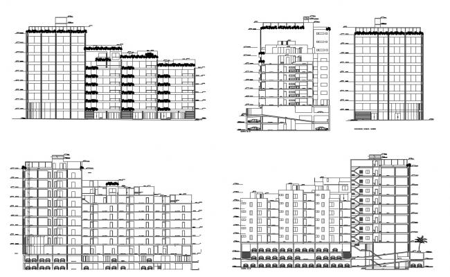 Drawing of Residential building with elevation details in dwg file