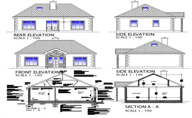 Drawing of Residential house with different Elevation and section