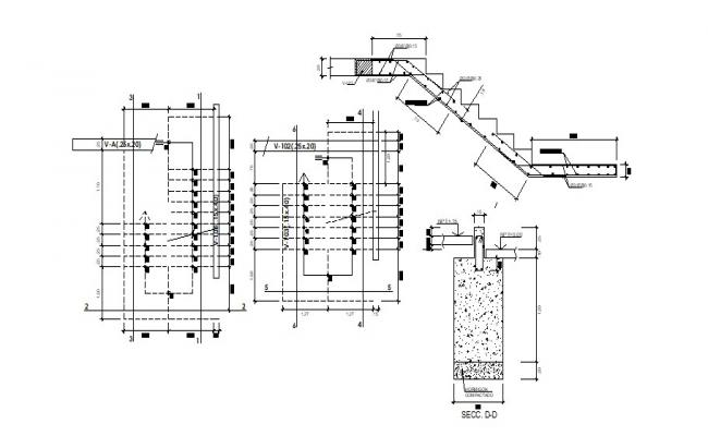 Drawing of Staircase design with detail dimension in dwg file
