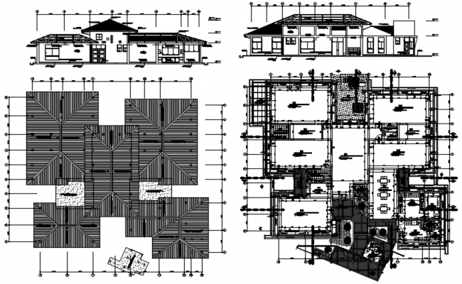 Drawing of Villa plan with different elevation and section in dwg file