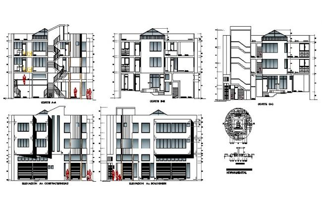 Drawing of a commercial building with different elevation in dwg file