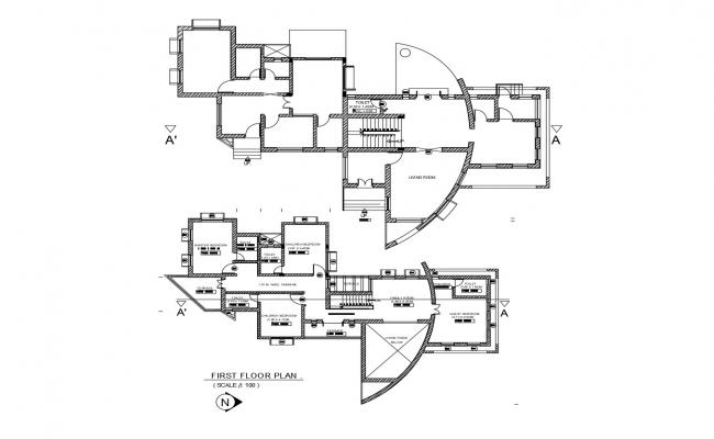 Drawing of a house with detail dimension in dwg file