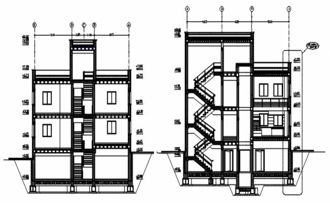 Drawing of a house with elevation and section details in dwg file