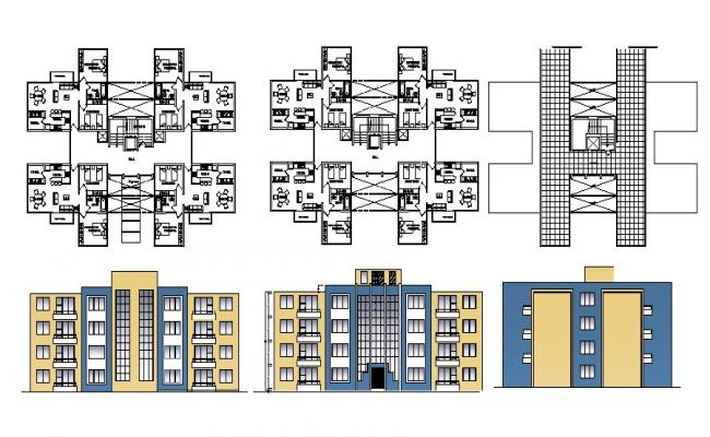 Drawing of a residential apartment with elevations in autocad