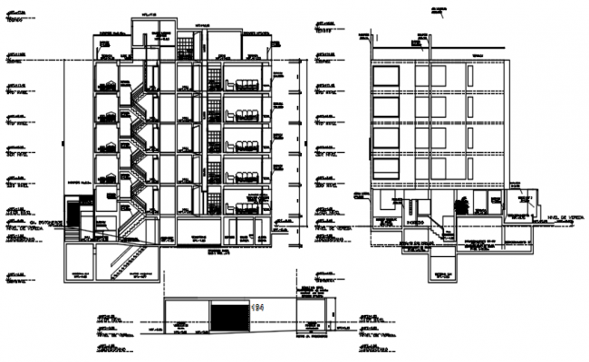 Drawing of a residential building with detail dimension in dwg file
