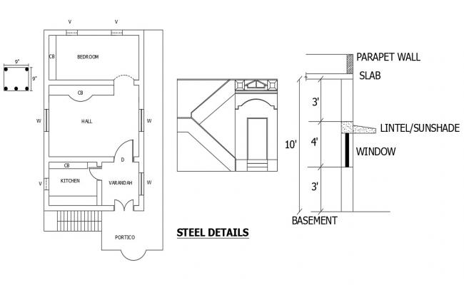 Drawing of a single family house with steel detail in dwg file