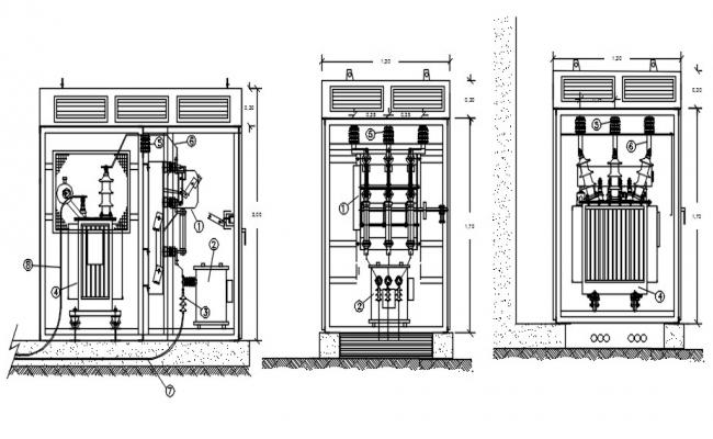 Drawing of an electric cad with detail dimension in dwg file