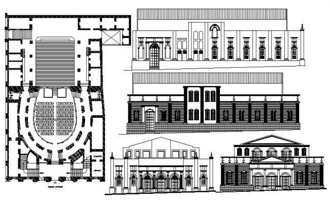 Drawing of auditorium hall with elevations in dwg file