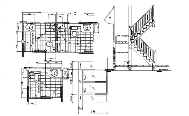 Drawing of bathroom design in dwg file