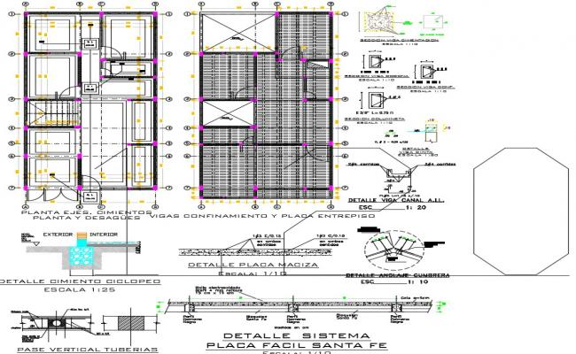Drawing of building plan with detail dimension in dwg file