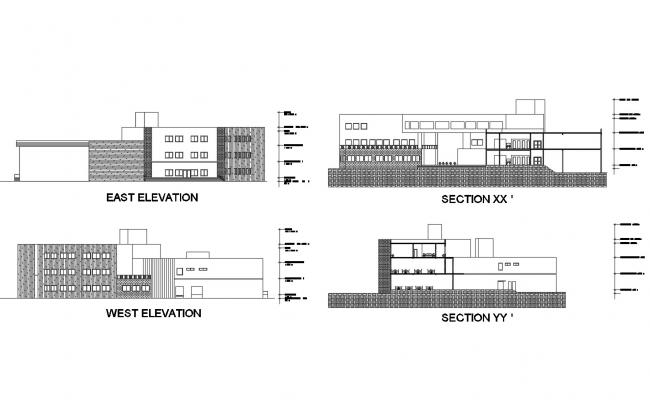 Drawing of building with different elevation in dwg file