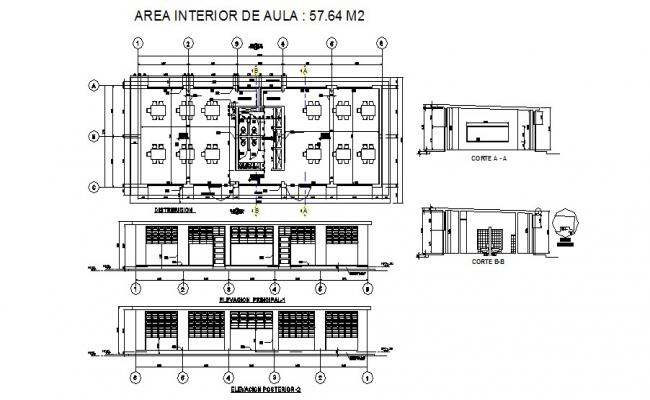 Drawing of building with section and elevation in autocad