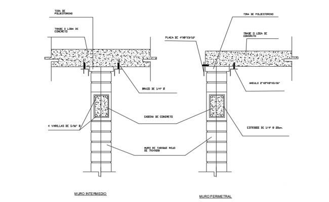 Drawing of column and beam design in autocad