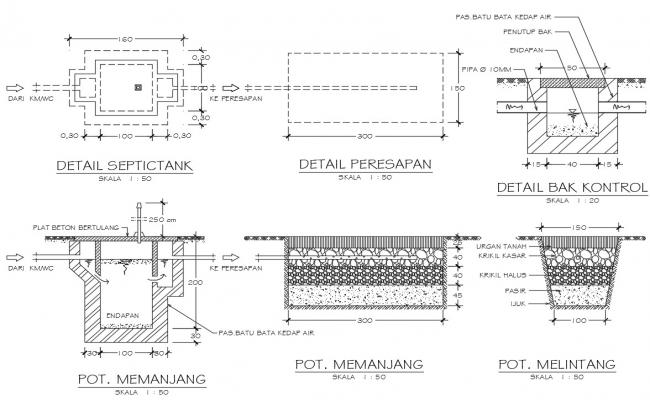 Drawing of concrete details in dwg file