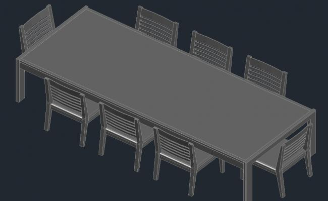 Dining table with chair in AutoCAD file