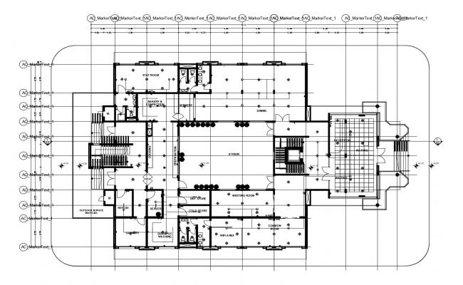 Drawing of guest house 38.50mtr x 24.00mtr with detail dimension
