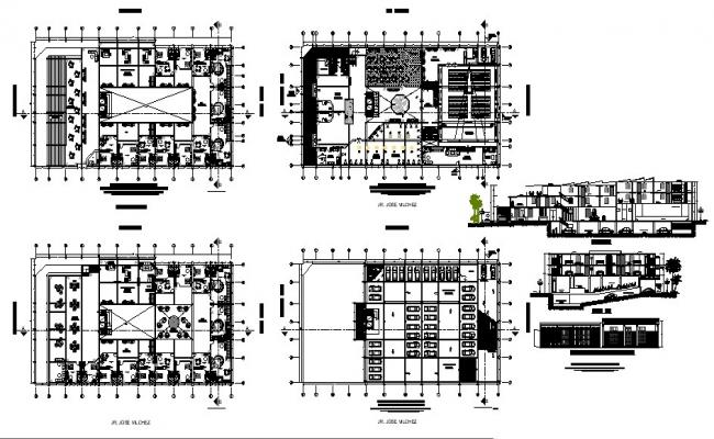 Drawing of hotel building 62mtr x 34.50mtr with section and elevation in dwg file