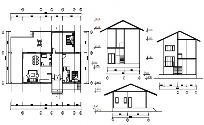 Drawing of house 19.400mtr x 10.000mtr with elevation in dwg file
