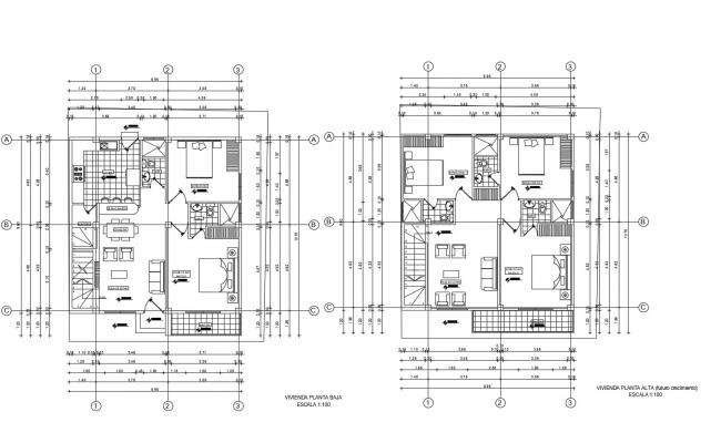 Drawing of house 8.96mtr x 10.70mtr with furniture details in AutoCAD