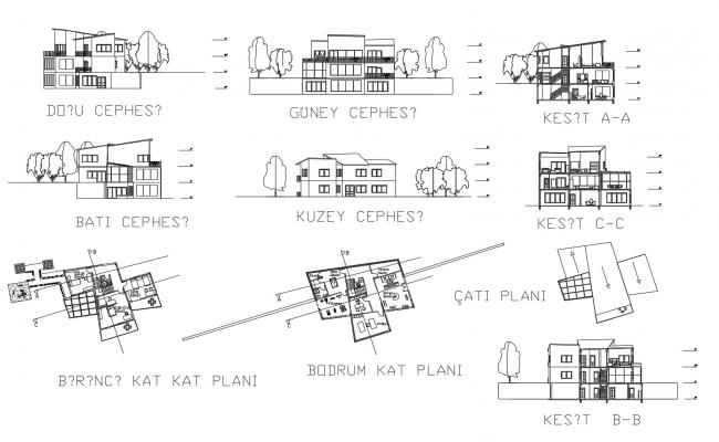Drawing of house design with detail dimension in AutoCAD