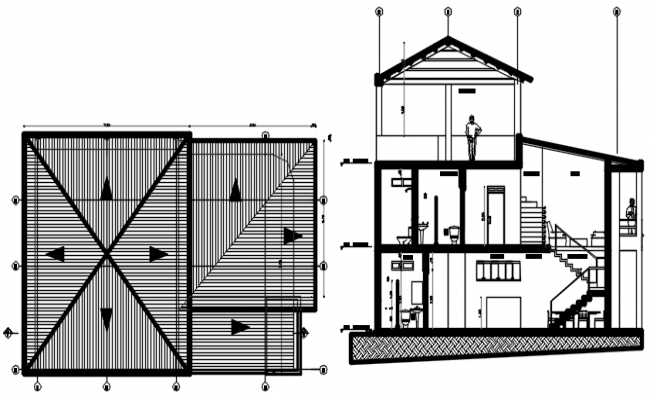 Drawing of house design with detail dimension in dwg file
