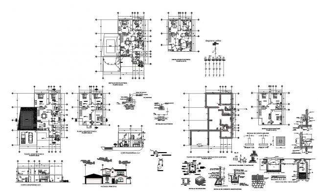 Drawing of house design with elevation detail in dwg file