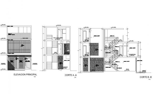 House Design Elevation In AutoCAD File