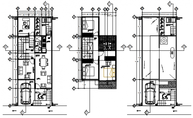 Drawing of house plan 6.00mtr x 15.00mtr with furniture details in AutoCAD