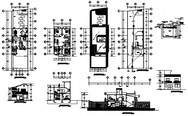 Drawing of house plan 7.50mtr x 28.00mtr with detail dimension in AutoCAD
