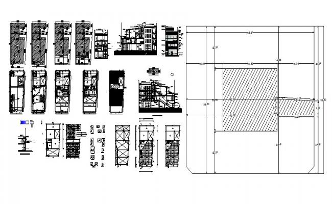 Drawing of office building 9.31mtr x 24.00mtr with elevation and section in dwg file