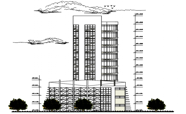 Drawing of office building design in dwg file