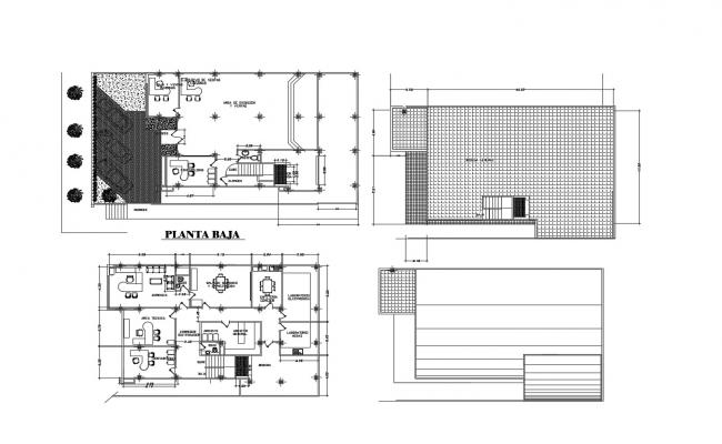 Drawing of office building plan with detail dimension in dwg file