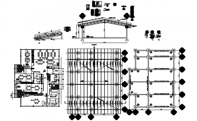 Drawing of office plan with detail dimension in AutoCAD
